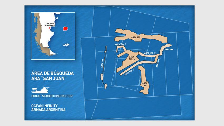 """Se agregaron nuevas áreas para la búsqueda del submarino ARA """"San Juan"""""""