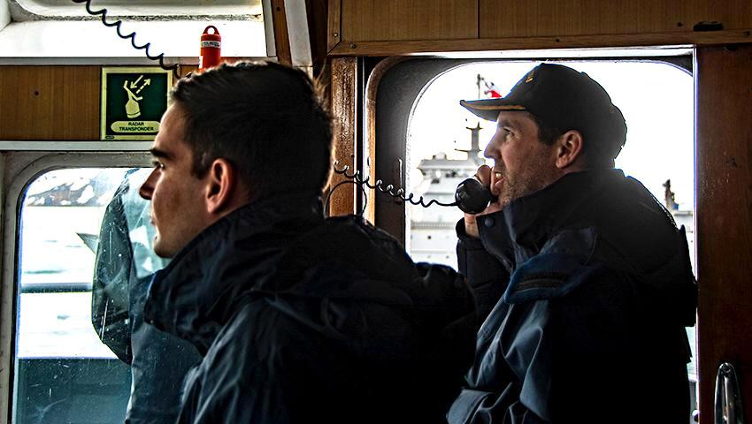 """Pasaje de guardia de la Patrulla Antártica Naval Combinada (PANC) con el transporte chileno """"Aquiles"""""""